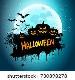 halloween night background... | Shutterstock .eps vector #730898278