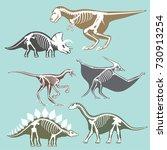 dinosaurs skeletons silhouettes ... | Shutterstock .eps vector #730913254