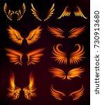 bird fire wings fantasy feather ... | Shutterstock .eps vector #730913680