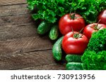 fresh vegetables on wooden... | Shutterstock . vector #730913956