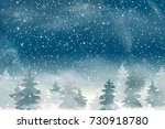 winter christmas woodland... | Shutterstock .eps vector #730918780
