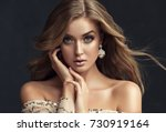 brunette  girl with long  and   ...   Shutterstock . vector #730919164