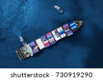 container ship in import export ... | Shutterstock . vector #730919290