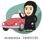 arab saudi woman or girl being... | Shutterstock .eps vector #730921720