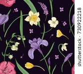 floral seamless pattern with... | Shutterstock .eps vector #730922218