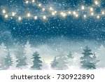 winter christmas snowy woodland ... | Shutterstock . vector #730922890