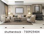 3d rendering classic warm... | Shutterstock . vector #730925404