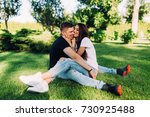 meeting lovers in the park. the ... | Shutterstock . vector #730925488
