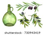 bottle of oil and olive branch. ... | Shutterstock . vector #730943419