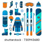 winter sport icons collection.... | Shutterstock .eps vector #730943680