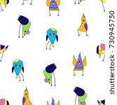 cartoon colorful triangular... | Shutterstock .eps vector #730945750