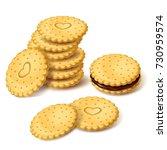 stack of round biscuit cookies... | Shutterstock .eps vector #730959574