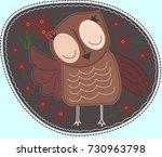 owl is holding a flower.... | Shutterstock .eps vector #730963798