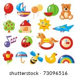 set of colorful children's pictures for kindergarten - stock photo