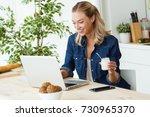 portrait of beautiful young... | Shutterstock . vector #730965370