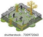 cemetery in autumn. 3d... | Shutterstock .eps vector #730972063