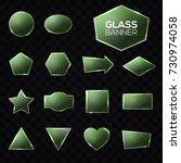 glass plates set. green... | Shutterstock .eps vector #730974058