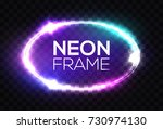 Neon Sign. Oval Frame With...