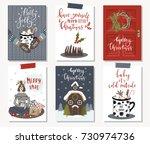 set of creative 6 journaling... | Shutterstock .eps vector #730974736