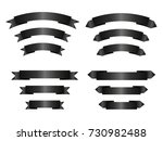set of empty black ribbons with ... | Shutterstock .eps vector #730982488