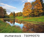 autumn landscape with yellowed... | Shutterstock . vector #730990570