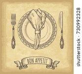 hand drawn plate  napkin  fork... | Shutterstock .eps vector #730992328