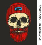 redhead sailor skull with... | Shutterstock .eps vector #730993528