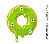 halloween donut with green...   Shutterstock .eps vector #730994713