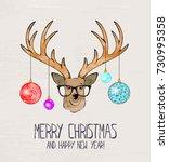 christmas deer. merry christmas ... | Shutterstock .eps vector #730995358
