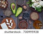composition of vegetarian... | Shutterstock . vector #730995928