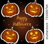 pumpkin halloween stickers   Shutterstock .eps vector #731000764
