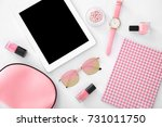 composition with tablet ... | Shutterstock . vector #731011750
