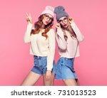 young woman having fun crazy... | Shutterstock . vector #731013523