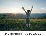 kid boy raised his hands up... | Shutterstock . vector #731013928