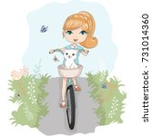 little cute vector girl with... | Shutterstock .eps vector #731014360