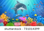 cartoon dolphin with coral reef ... | Shutterstock .eps vector #731014399