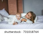 little cute baby and beautiful... | Shutterstock . vector #731018764