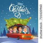 merry christmas card design ... | Shutterstock .eps vector #731020960