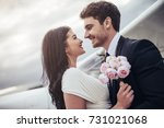 just married young romantic... | Shutterstock . vector #731021068