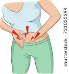 woman with stomach pain | Shutterstock .eps vector #731025394