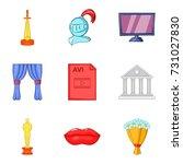 cine film icons set. cartoon... | Shutterstock .eps vector #731027830