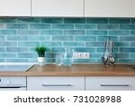 modern kitchen at home with... | Shutterstock . vector #731028988