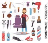 barbershop hairdresser beard... | Shutterstock .eps vector #731030854