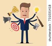 businessman with multitasking...   Shutterstock .eps vector #731031418
