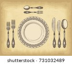 hand drawn plate spoons  forks... | Shutterstock .eps vector #731032489