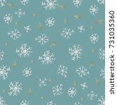 hand drawn cartoon snowflakes... | Shutterstock .eps vector #731035360