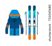 winter sport icons jacket and... | Shutterstock .eps vector #731045680