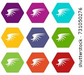 wing icon set many color... | Shutterstock .eps vector #731050276