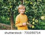 kid boy playing in apple... | Shutterstock . vector #731050714