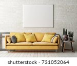 mock up poster with yellow sofa ...   Shutterstock . vector #731052064